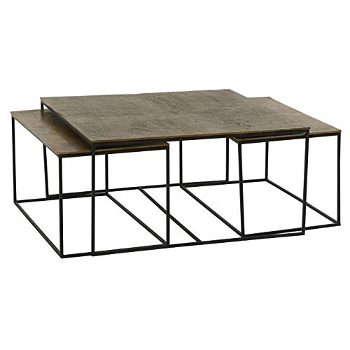 Athezza Set 3 Tables Ibiza Noir doré 90X90cm