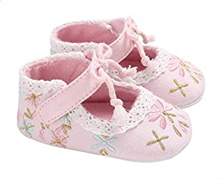 Mix & Max Canvas Embroidered Velcro-Strap Shoes for Girls - Pink, 0-6 Months