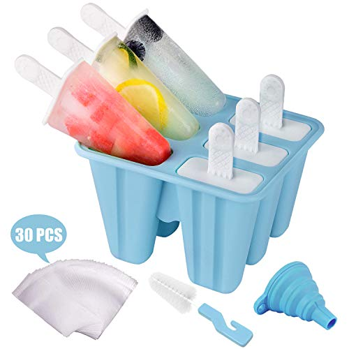 Popsicle Molds for Kids, Morfone 6 Pieces Silicone Ice Pop Molds Ice Cream Maker Reusable Popsicle Tray Holder BPA Free LFGB Certified with 30 Popsicle Bags, Funnel and Cleaning Brush…
