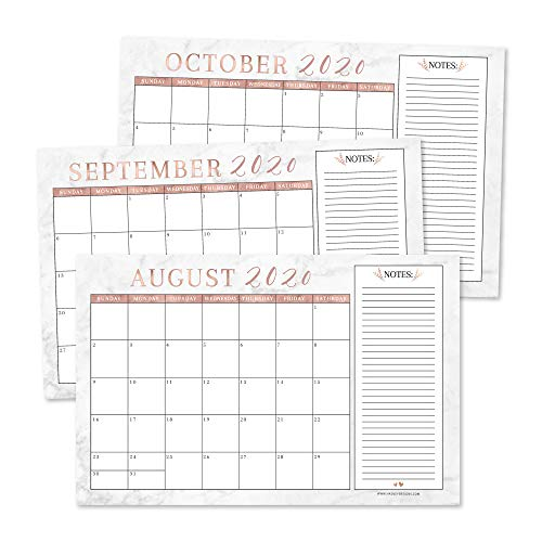 Rose Gold Marble 2020-2021 Large Monthly Desk or Wall Calendar Planner, Big Giant Planning Blotter Pad, 18 Month Academic Desktop, Hanging 2-Year Date Notepad Teacher, Family or Business Office 11x17'