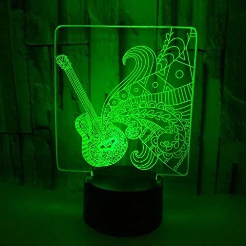YJLGRYF LFKB1234 Gitarre 3D-LED-Nachtlicht Schlafzimmer Der Kinder-Nachtlicht USB-LED Tischleuchte Kinderspielzeug