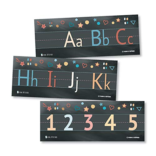 Alphabet and numbers classroom Wall Line for teaching ABCs Black Young N Refined (Glossy Paper)