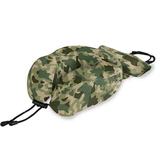 Vinlin Travel Pillow Forest Camo Camoflage Memory Foam U Shape Pillow Comfortbale Neck & Head Support for Airplane Travel Car Train Sleeping Rest Napping