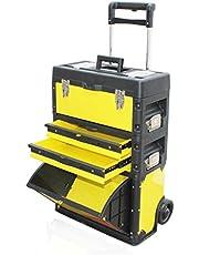 Gereedschapskist Stapelbare Toolbox Rolling Mobile Organizer met Comfort handgreep Multifunctionele Grote Combinatie Storage System Mobile Tool Box op wielen Gereedschap opbergdoos Tool
