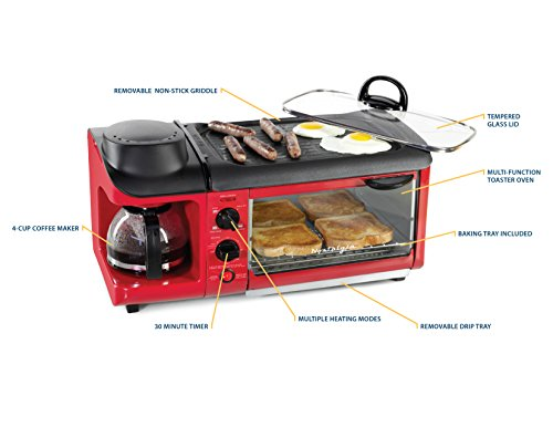 Product Image 2: Nostalgia BSET300RETRORED 3-in-1 Family Size Breakfast Station, Red