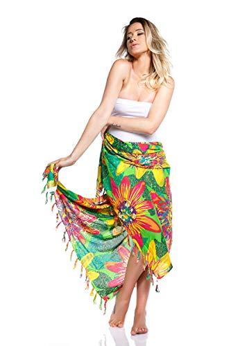 Pañuelo multiusos estampado Floral - Colorido sin igual - Tamaño ideal para utilizar como foulard, chal, pareo, blusa, turbante, vestido. ¡Alta calidad en un producto exclusivo y diferente! (Verde)
