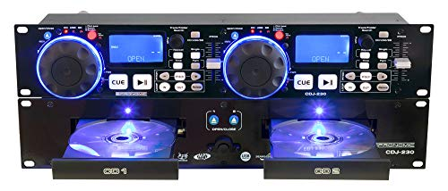 Pronomic CDJ-230 Doppel DJ CD Player mit USB & SD (2-Kanal DJ Desk mit separatem Controller, Pitch Bender und DSP-Effekte, Seamless Loop, 19