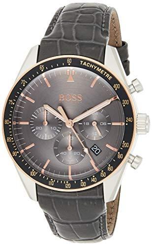 Hugo Boss Herren Chronograph Quarz Uhr mit Leder Armband 1513628