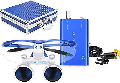 TopSeller歯科 双眼ルーペ拡大鏡(3.5倍) + クリップ式LEDヘッドライト 3W 携帯便利 光学拡大鏡 光学ルーペ (3.5倍) ポータブル拡大鏡 ポータブルルーペ 虫眼鏡 軽量 フィルター付き 装着便利 収納アルミボックス付き (青)