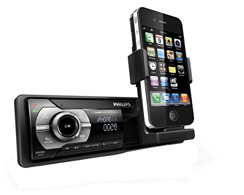 Philips CMD310 - Radio para coche RDS AM/FM con soporte retráctil mecanizado para Apple iPhone y iPod