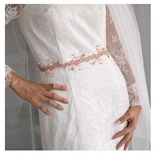 Azaleas Bridal Wedding Dress Belt, Crystal Bridesmaid Sash, Rhinestone Flower Girl Belts, Evening Gown Jeweled Accessories for Women (Rose Gold-Organza White)