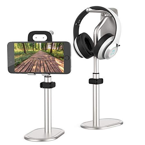 Soporte ajustable para tableta / teléfono móvil, soporte para teléfono móvil soporte para auriculares en ángulo ajustable en altura compatible con iPhone / Samsung / Huawei / Kindle