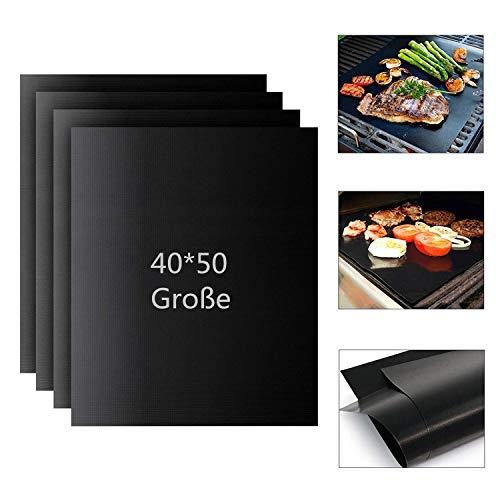 Aiqulai BBQ Grillmatte 4er Set (3er Set + 1 gratis) - Wiederverwendbare Premium Grill- und Backmatte mit Teflon Antihaftbeschichtung für Grill und Backofen,grillmatte Extra Groß 50 x 40 cm