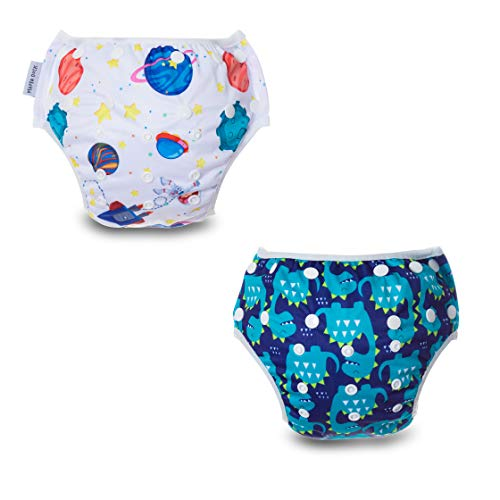MAMA DUCK Reusable, Adjustable and Washable Baby Swim Diaper. (8-35lbs) 2 Packs Green
