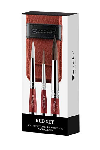Escoda Artist Watercolor Travel Brush Set w/Canvas Pouch, 3 Short Handle Brushes, Red