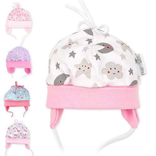 Baby Sweets Baby Mütze für Mädchen in Grau Weiß Rosa als Erstlingsmütze im Sterne-Mond-Motiv/Babymütze für Neugeborene & Kleinkinder zum Binden in der Größe: 1 Monat (56)