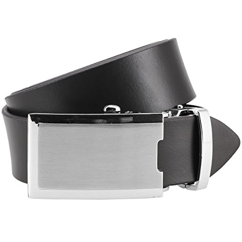 Lindenmann Mens leather belt/Mens belt, leather belt XL with autolock buckle, dark brown, Größe/Size:100, Farbe/Color:marron