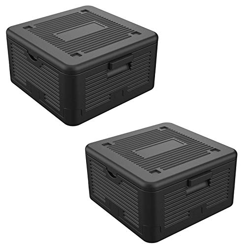 HAC24 2er Set Thermobox Klappbar 17 L Isolierbox 41x38x22cm Transportbox Faltbar Styroporbox Schwarz Warmhaltebox Kühlbox