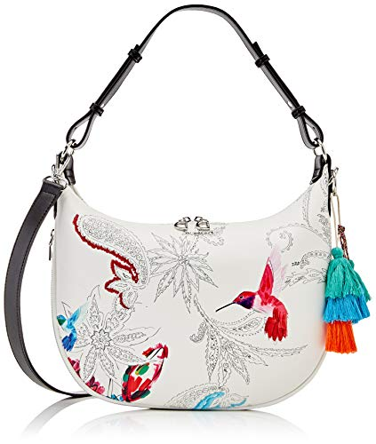 Desigual PU Shoulder Bag, Borsa a Tracolla. Donna, Bianco, U