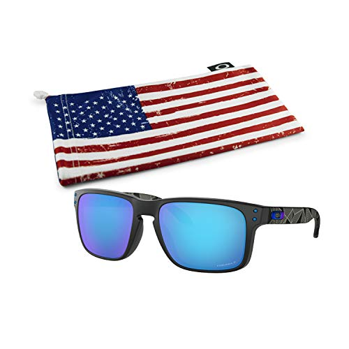 Oakley Holbrook Sunglasses (Matte Black Prizmatic Frame, Prizm Sapphire Polarized Lens) with Country Flag Microbag