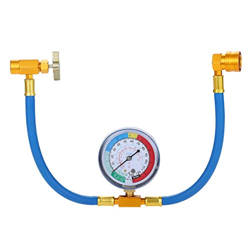 """SURIEEN AC Charge Hose with Gauge, R134A AC Refrigerant Recharge Hose Kit, 1/2"""" Acme Can Tap..."""