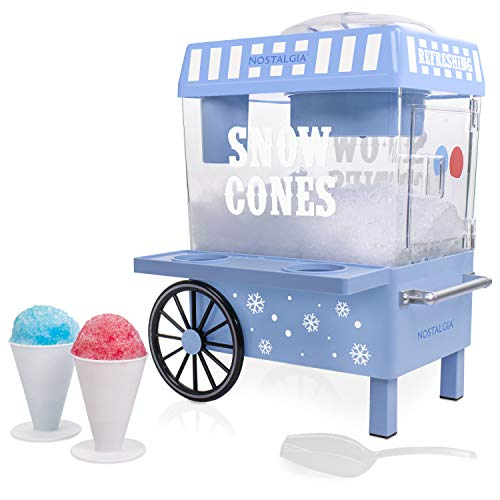 Nostalgia SCM525BL Vintage Countertop Snow Cone Maker Makes 20 Icy Treats, Includes 2 Reusable...