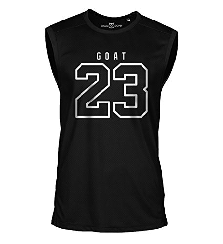 23 Goat Jordan Sleeveless Shirt Greatest of All Time Basketball Jersey Trikot Michael Bulls (M, Schwarz)