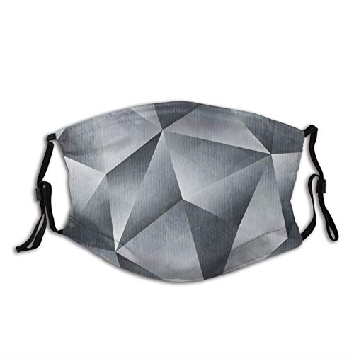 Monocromo Grunge Triángulo Patrón Cara M-A-S-K Para Adultos Cara Pasamontañas Reutilizable Con 2 Filtro Para Hombres Mujeres