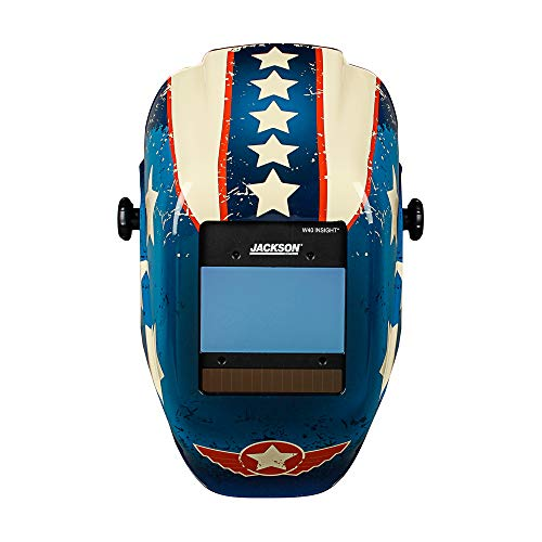 Jackson Safety Ultra-Lightweight Insight HXL-100 Welding Helmet with Digital Variable Auto Darkening Filter, Nylon, Halo X, Stars & Scars, Universal Size, 46101