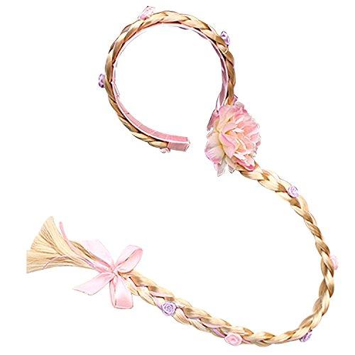 L-Peach Accesorios de Princesa Dress Up Trenza Rosa para para Niñas Cumpleaños Party Carnaval Fiesta Cosplay Halloween