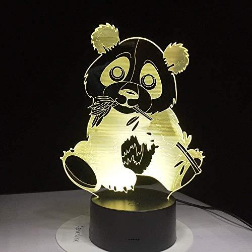 Panda 3D-illusie-lamp, voor een nachtlampje van bamboe, geschikt voor kinderen, familie, vrienden, verjaardag, Valentijnsdag, USB, 7 kleuren (afstandsbediening)