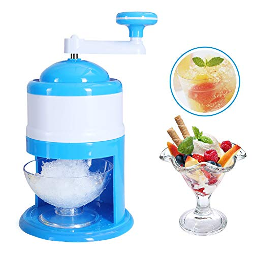 JAYI Shaved Ice Machines, Portable Hand Crank Manual Ice Shaver Crusher Shredding Snow Cone Maker Machine Tool