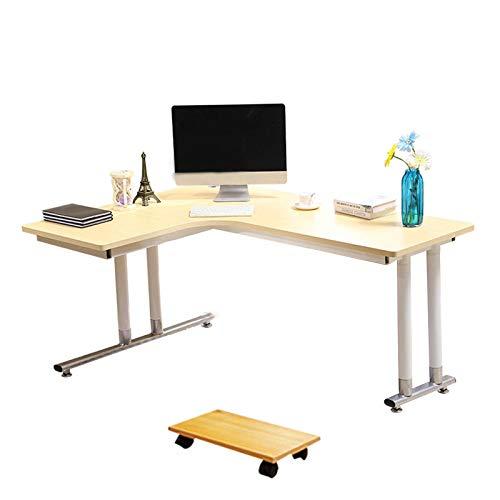 Escritorio de oficina en forma de L, computadora portátil Escritorio de estudio de escritura para oficina en casa Madera y metal para oficina en casa Madera Ahorro de espacio, fácil de montar (120x8