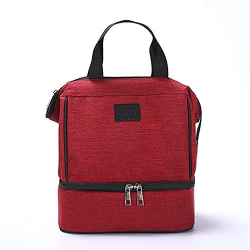 DUYH Bolsa de Almuerzo de Viaje, Bolsa de Hielo para Picnic, Bolsa de Almacenamiento en Frío de Conservación Fresca, 23×16×18cm. (Rojo)