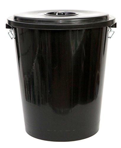 PAMEX Cubo de Basura con tapadera. Capacidad 100 litros. Especial Exterior (Negro)