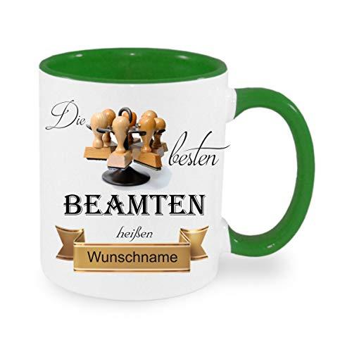 Crealuxe Tasse m. Wunschname Die besten Beamten heißen. Wunschname - Kaffeetasse mit Motiv, Bedruckte Tasse mit Sprüchen oder Bildern