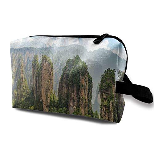 DJNGN Bolsas de maquillaje para mujeres, bolsa de maquillaje de viaje, pequeña bolsa de cosméticos Parque forestal de Zhangjiajie Montañas gigantes del pilar que se elevan desde el