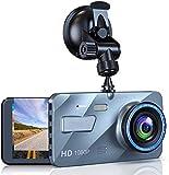 Dash CAM Cámara de Coche con Lentes 1080P Full HD 170 Ángulo con WDR G-Sensor, Detección de Movimiento, Grabación en Bucle, Visión Nocturna, Monitor de