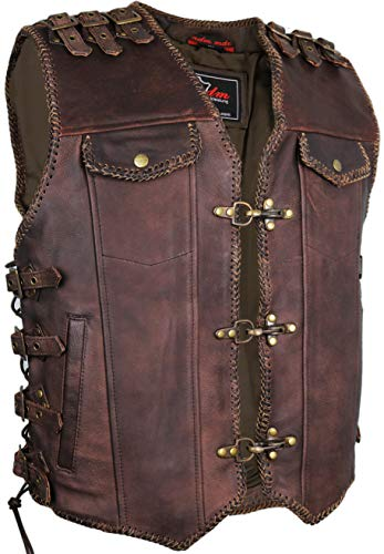 MDM Brown Mens Motorcycle Biker Leather Vest (L)