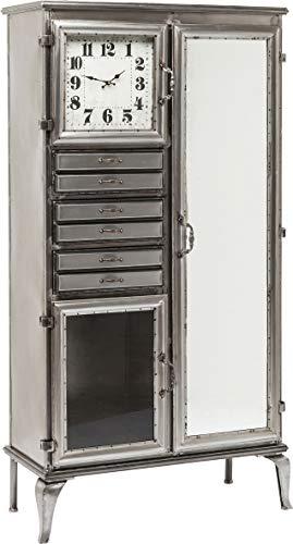 Kare Design Hochkommode Buster Time, Spiegelkommode, Kleine Kommode mit integrierter Uhr, Schubfächern und Türe (B/H/T) 85x167x38cm