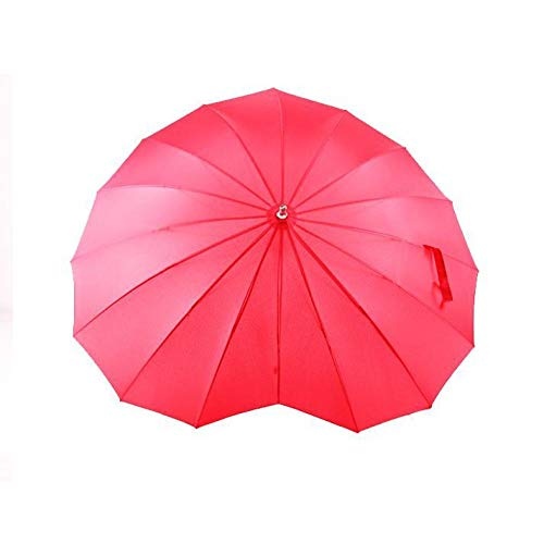 Powzz ornament Kreativer roter Liebesherz-geformter sonniger Regen-Regenschirm gerade Herz-förmiger Werbe-Regenschirm-Liebes-Regenschirm-ohne Spitze_60cm * 16k