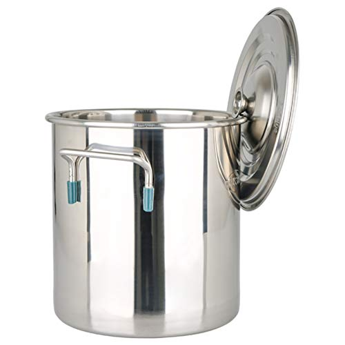 Pentole fumanti Pentola di riserva, commerciale/domestica addensata 304 Pentola di zuppa in acciaio inox con coperchio per stufa a gas/fornello a induzione (12-98L) Recipiente di cottura