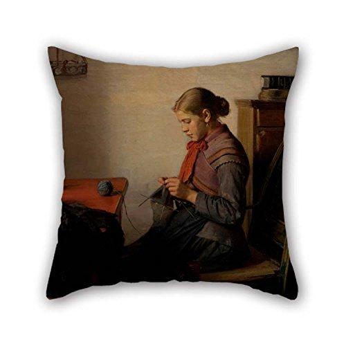 20 x 20 inch / 50 bij 50 cm olieverfschilderij Michael Ancher - Skagen Girl, Maren Sofie, breien. Kussenslopen elk zijversiering en geschenk aan Monther Outdoor Lounge jongens Thuis bureaustoel