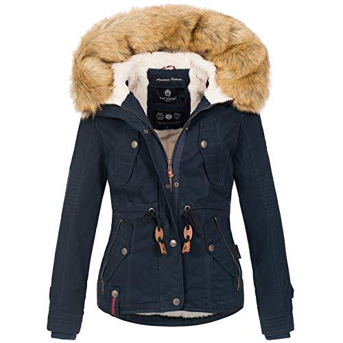 Navahoo warme Damen Designer Winter Jacke Winterjacke mit Kapuze und Teddyfell B643 [B643-Pearl-Navy-Gr.XS]
