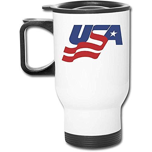USA-Hockey-Logo-Edelstahl-Isolierreisebecher mit Deckel-Ladeschalen-Isolierkaffeetasse