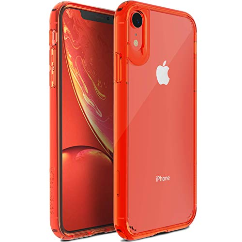 TEAM LUXURY Clear Case Compatible with iPhone XR Case, [UNIQ Series] Shockproof, Anti-Drop Protection, Phone Case for Women & Men 6.1 Inch (Clear Coral)