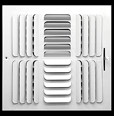 """12"""" x 12"""" 4-Way Curved Blade Supply Grille, with Damper & Lever, Fixed Blades"""
