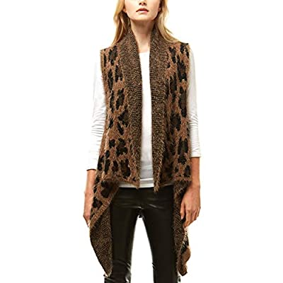 Me Plus Women Fashion Fall Winter Leopard Zebra Pattern Soft Cascade Fuzzy Open Front Vest Shawl (Fuzzy Leopard Pattern - Taupe) by