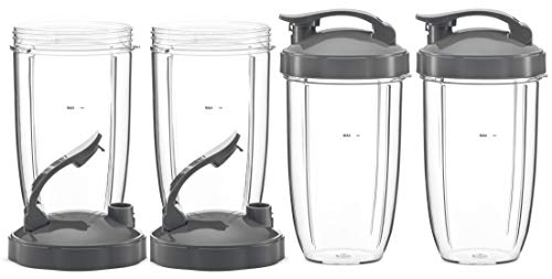 Tall Replacement Cups with Flip Top To-Go Lid Compatible with NutriBullet High-Speed Blender/Mixer   24 oz Cup (Pack of 4) by Preferred Parts