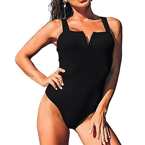 Nuevo Traje De Baño Sexy De Una Pieza Traje De Baño para Mujer Ropa De Playa Push-Up-Black_S